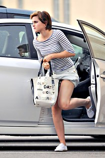 Windblown upskirt of Emma Watson
